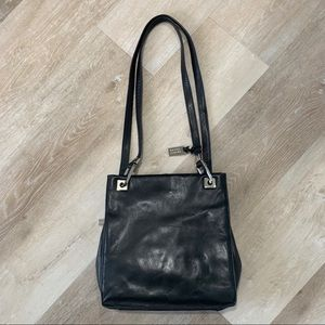 Valerie Stevens Black Leather Shoulder Handbag